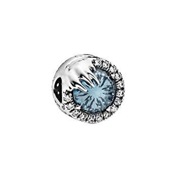 LaMenars Schneeflocken-Anhänger für Armbänder und Halskette, 925er-Sterlingsilber, Perlen, Zirkonia, Charms für Damen und Mädchen (B-Blaue Gefroren Schneeflocke)