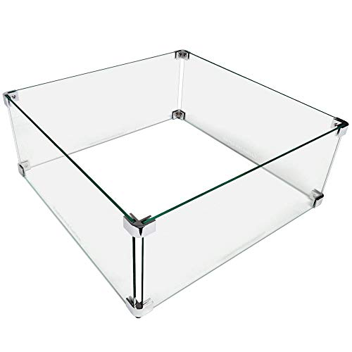 Midwest Hearth Fire Pit Wind Guard Glass Shield (Square, 22 Inch)