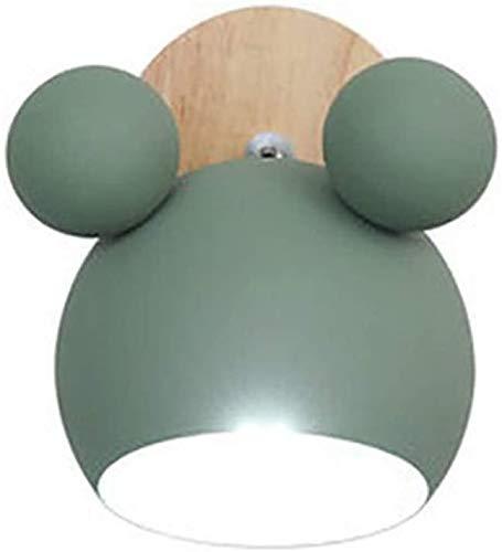 Fondo de la pared de la lámpara LED de dibujos animados E27 Macaron la pared del LED Luces Niños lectura de cabecera partido en casa de dormitorio de madera apliques de la novedad (Color : Green)