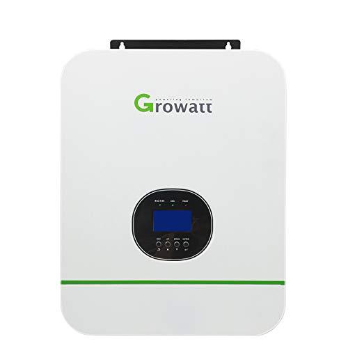 Growatt 3000W Off-Grid Solar Inverter 110V-120V/220-230V Split Phase Built-in 80A MPPT Solar Charge Controller, Pure Sine Wave Hybrid Inverter Work with 24V Battery Off Grid Solar Home Use