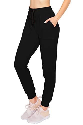 ALWAYS Women's Fleece Jogger Pants - Winter Warm Soft Sweatpants with Pockets Black M