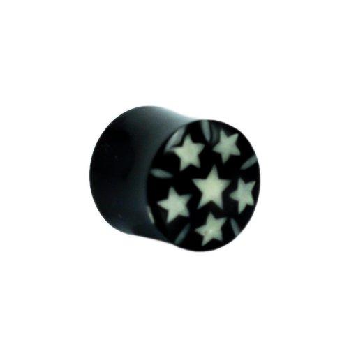 Chic-Net Tribal Buffalo Horn Piercing Expander- schwarze Spirale mit pinkfarbenen Sternen- 6mm- Plug- Tunnel- Ohrring- Ohrhänger- Ohrstecker