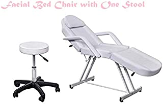 Professional Facial Tabel Bed Chair for Beauty Salon White Leather Cover A Shape Structure for Facial Massage Waxing