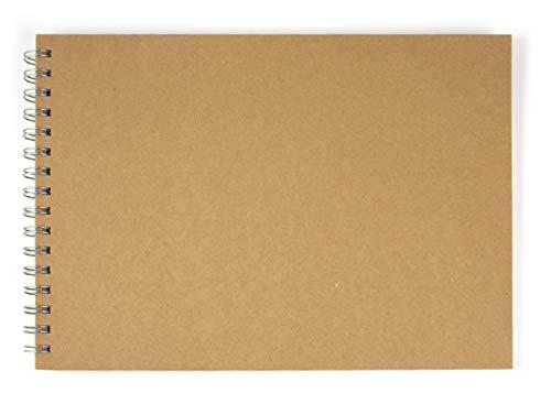 Rayher 8160900 Álbum Scrapbooking con Anillas, apaisado, tamaño DIN A4, 30 Hojas de 190g/m2, Tapas de Papel maché, 21x30cm