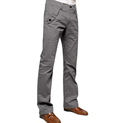 LQQSTORE Herren Hose Chino Arbeit Skinny Slim Einfarbig Straight Reißverschluss Taschen Lang Herbst Winter (Grau, 29)