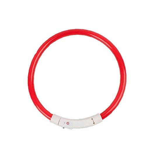 Uayasily Perro Collar LED USB Recargable Collares de Perro Que Brilla la luz Cuello Visibilidad Mejorada Seguro del Animal doméstico en la Noche con la batería de 50 cm Color al Azar 1PC