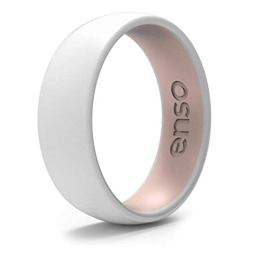 Enso Rings Dual Tone Silicone Wedding Ring – Two Tone Hypoallergenic Wedding Band – Comfortable Band for Active Lifestyle - Medical Grade Silicone – 1.75mm Thick Unisex Band (White & Pink Sand, 9)