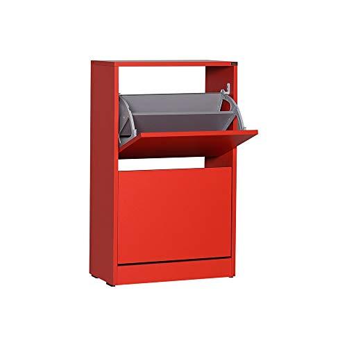 Adore Furniture Armario de almacenamiento de zapatos de dos niveles, con capacidad para 10 pares, ideal para pasillo, acabado mate