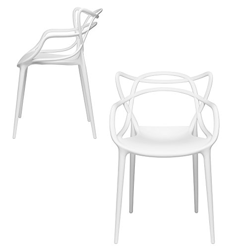 Set of 2 - Masters Entangled Chair - Modern Designer Armchairs for Dining Rooms, Offices and Kitchens (White)