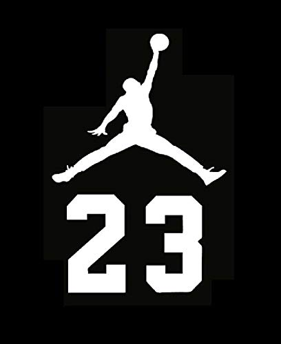 Micheal 23 Air Jordan Flight Logo Vinyl Decal Sticker - Car Window, Laprop, Wall, Mac (5.5' inches, White)