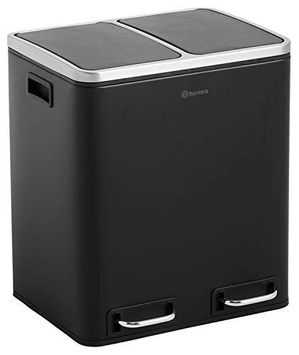 Cubo de reciclaje con 2 compartimentos – Cubo de basura doble de 30 l – Cubo de basura – Blinq negro