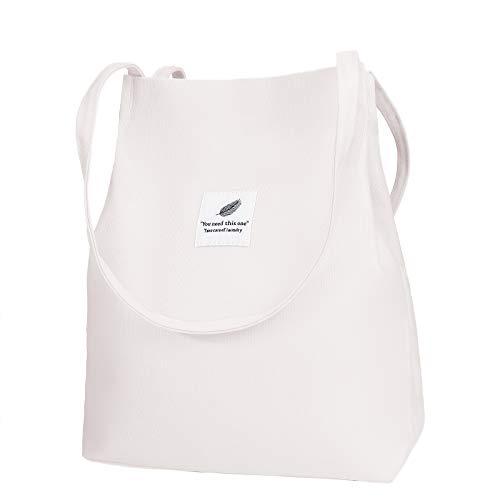 Bolso de Hombro de Lona, Reutilizable Tote Bag Bolso de Bandolera Casual...