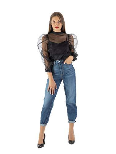 Guess Damen Bluse Hortensia W0YH59WD2I0, Organza, Schwarz, Organza Medium