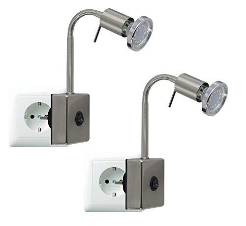 Trango Paquete de 2 Aplique LED, lámpara de lectura, lámpara de cocina, luz de noche, lámpara de pinza, TG2607 enchufable / 2 pulg. Níquel incluido 1x LED blanco cálido GU10