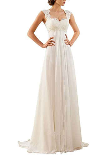 Aiyana Aiyana A-Linie Chiffon Langes Rueckenfrei Kleid Rueckenfrei Schnuerung Abendkleid Spitze Brautkleid, Weiß, Gr. 34