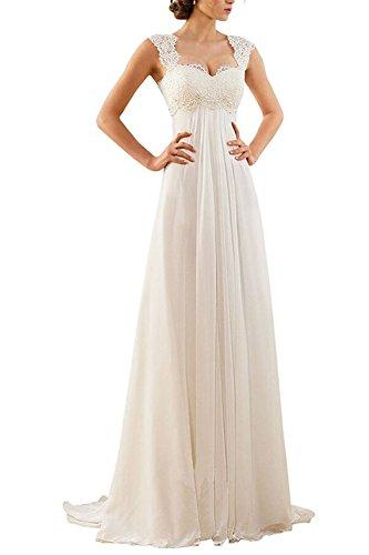 Aiyana A-Linie Chiffon Langes Rueckenfrei Kleid Rueckenfrei Schnuerung Abendkleid Spitze Brautkleid, Weiß, Gr. 50