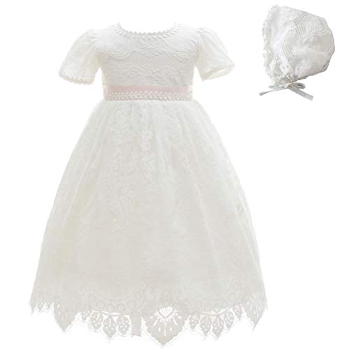Moon Kitty Baby Girl Special Occasion Dress 2PCS Christening Baptism Gowns Girls Lace Long Dress Ivory White