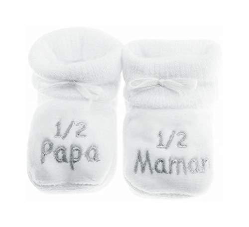 NOSBEBES® Chaussons bébé idée Cadeau bébé maternité ou idée Annonce de Grossesse (blanc-1/2)