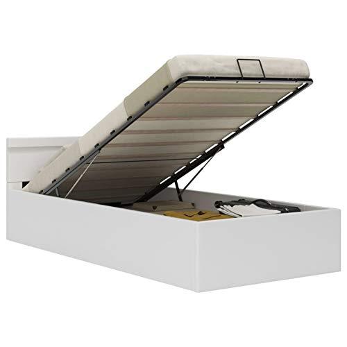 WooDlan Cama canapé hidráulica con LED Cuero sintético Blanco 90x200 cm