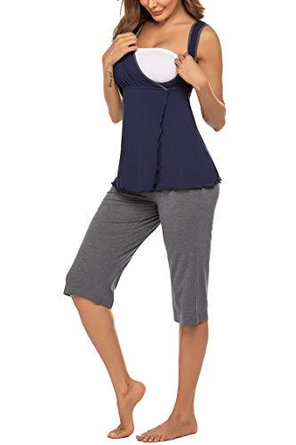 MAXMODA Damen Umstandspyjama Stillfunktion Stillschlafanzug Kurzarm Lange Hosen Ärmellos