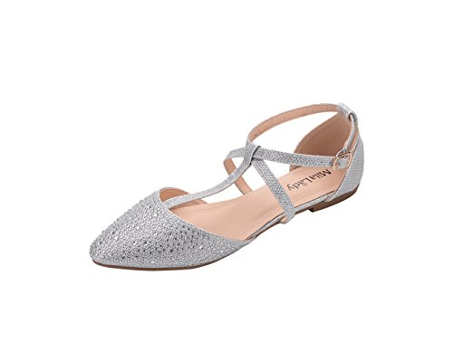 Mila Lady Laurel Womens Pointed Toe Ankle Strap T-Strap D'Orsay Dress Flats Shoes,SILVER7.5