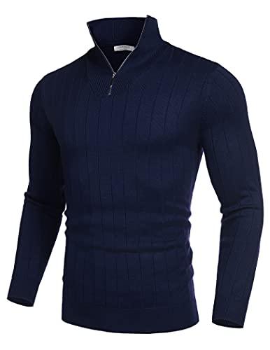 COOFANDY Maglione a collo alto, da uomo, a maniche lunghe, con collo alto e mezza zip, a maniche lunghe, blu navy, S
