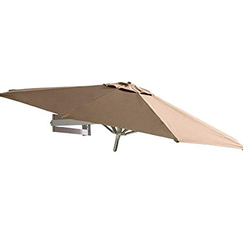 GBTB Sombrillas Sombrilla para Montaje en Pared - Jardín al Aire Libre Balcón Inclinable Sombrilla Sombrilla, Aluminio y Oslash;7 pies / 220 cm (Color: Caqui)