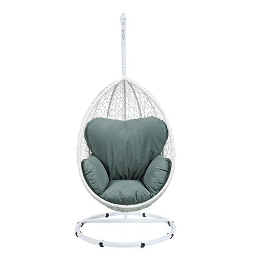 Hommoo Outdoor Patio Swing Chair Hanging Chair Cushion with Stand in Green Fabric & White Wicker for Home