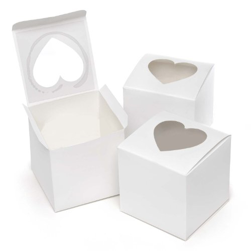 Sourced Hortensia B. Hewitt Wedding Accessories, Cupcake Favor Boxen mit Herz Form Windows, 3Zoll, quadratisch, 24Stück