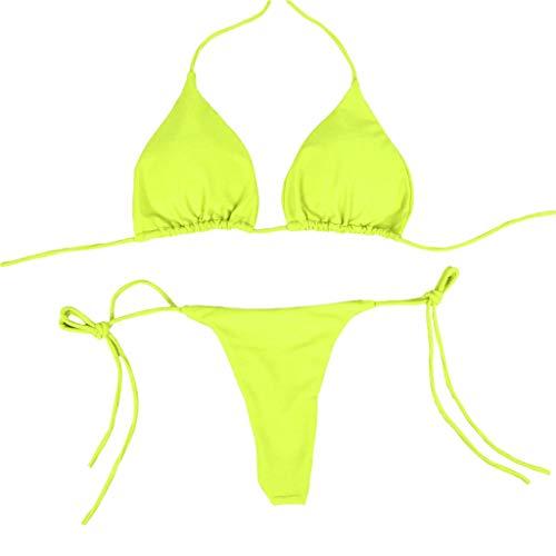 N-B Bikinis Mujer 2021 Verano Tirantes Push Up Llanura Colores Trajes de Baño de Dos Piezas Sexy Bohemia Bañador Natacion Ropa Tops y Bikinis Tanga de Hilo