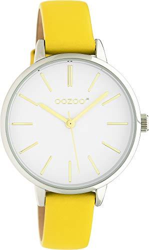 Oozoo JR312 - Reloj de pulsera para mujer con correa de piel (34 mm), color blanco y amarillo