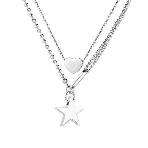 Blowin Gargantilla de doble capa para mujer con colgante de corazón y estrella, cadena de acero inoxidable plateado