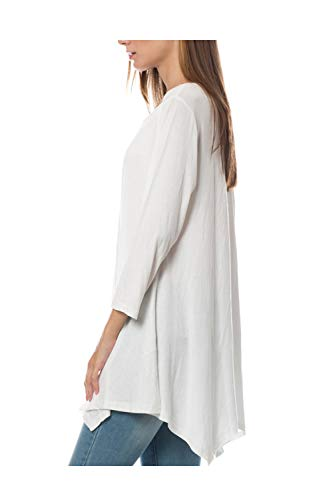 LE3NO Womens Loose Casual 3/4 Sleeve Asymmetric Hem Flared Tunic Top, OFFWHITE, Large