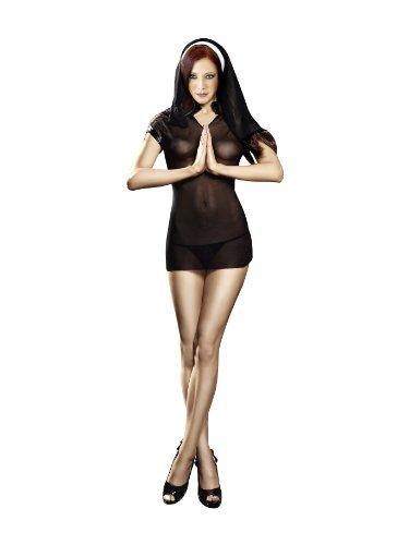 Baci Women's Naughty Nun Set, Black, Queen Size
