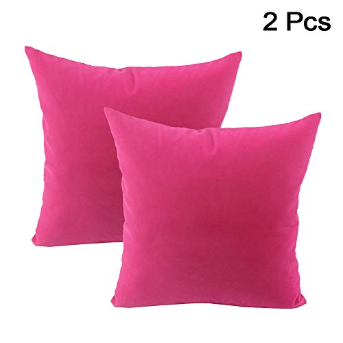 AllRight 2pcs Plain Dyed Cushion Covers 100% Percale Cotton Throw Pillow Case Home Decoration 18' x 18' Hot Pink