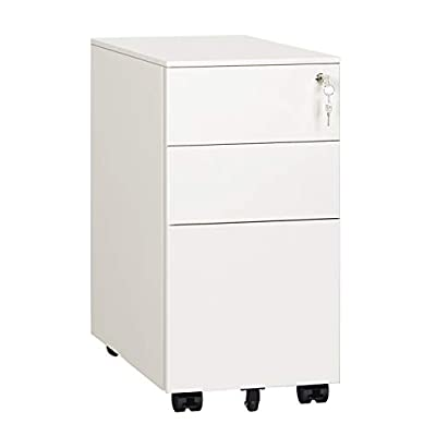 DEVAISE Locking File Cabinet, 3 Drawer Rolling Metal Filing Cabinet