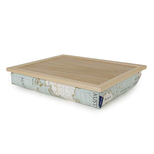 Blue Badge Co World Map Lap Tray with Cushion, TV Dinner Bean Bag Bottom Cushioned Laptray, Laptop Holder Bed Desk with Wipe-Clean Surface and Real Wood Frame, Moulds to Your Lap, 700 g