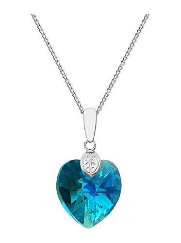 Crystals & Stones *Cuore* 18 mm *Crystal AB* con catena in argento 925 con elementi Swarovski originali, ciondolo collana catena con custodia per gioielli, ideale come regalo per donna