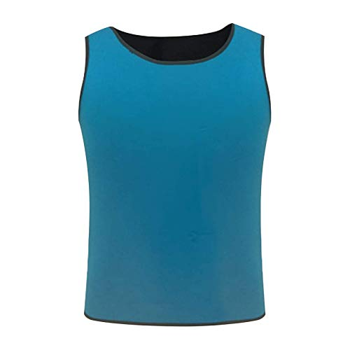 Hombres Sauna Sudor Chaleco Compresión Camisetas Para Pérdida De Peso Hombre Caliente Neopreno Azul Xl