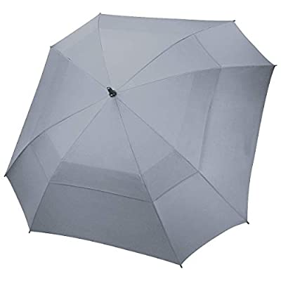 N1Fit Extra Large Golf Umbrella Double Canopy Vented Square Umbrella Windproof Automatic Open 62 Inch Oversize Stick Umbrella for Men Women (Grey)