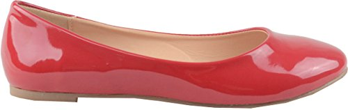 Chase & Chloe Ami-1 Round Toe Classic Ballet Flat (5.5 B(M) U.S, Red Patent)
