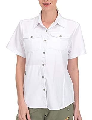 Little Donkey Andy Women's Stretch Quick Dry UPF50+ Short Sleeve Shirt for Hiking, Travel, Camping White Size XL