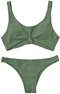 Women's Bathing Suit Scoop Knotted High Cut Bikini Set Wide Straps Swimsuit