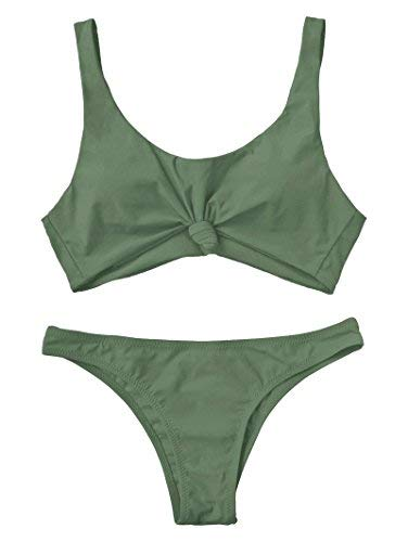 ZAFUL Women's Bathing Suit Scoop Knotted High Cut Bikini Set Wide Straps Swimsuit Army Green S