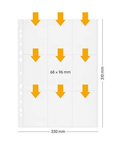 perfect line 100 Sammel-Hüllen 9-geteilt (900 Taschen), DIN-A4 transparent, Sicht-Tasche auf 9 Fächer (6,8 x 9,6 cm je sleeve), Klarsicht-Folie glas-klar, für Pokemon, yugioh, ninjago & Fußball Karten