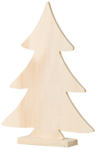 Artemio Albero di Natale Alto 20cm, in Legno, con Base, Colore: Beige