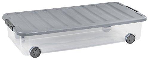 CurverScotti, Caja de Almacenamiento con Ruedas, Plástico, Transparente/Gris, 35L, 79 x 39 x 16 cm
