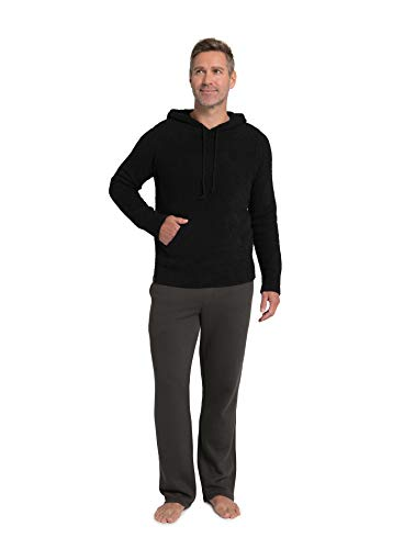 Barefoot Dreams CozyChic Men's Pullover Hoodie, Light Sweater, Black, XX-Large -  BFD-BDMCC1329-001-15