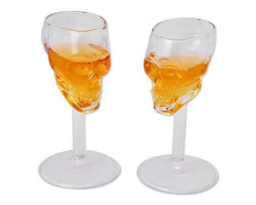 ds. distinctive style CPVYSCSP Skullshotglass Schädel Schnapsgläser Whiskyglas Edelbrandgläser 2 Stück  Double Shot 75 Milliliter 2,5 Unzen