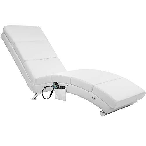Chaise de Relaxation rembourrée méridienne London Similicuir Blanc Fauteuil Fonction Chauffage et minuterie télécommande Ergonomique 8 Points de Massage 2 Niveaux d'intensité